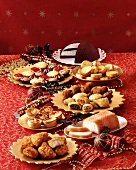 Buffet with savoury & sweet pastries and salmon terrine