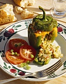 Peppers stuffed with herbs and rice