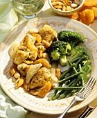 Geschnetzelte Hähnchenbrust mit Mandeln & Aprikosen