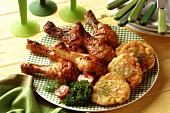 Glazed chicken drumstick with potato biscuits