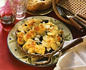 Spinach and potato gratin with sheep's cheese