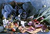Still life with red cabbage and apple