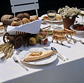 Country table setting for summer meal out of doors