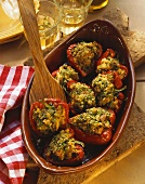 Red pepper halves with tuna and herb stuffing