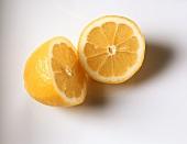 A halved lemon, cut open