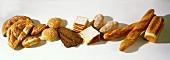 Breads: white, baguettes, sliced, black, flatbread, roll