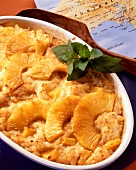 Rice pudding with pineapple and lemon balm