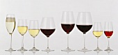 Assorted Red and White Wine in a Variety of Glasses
