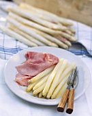 White Asparagus with a Slice of Ham