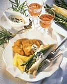Green & white asparagus with Wiener Schnitzel & caper sauce