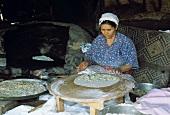 A Turkish Woman Making Flat Bread