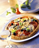 Vegetarian Pizza with Artichokes and Zucchini