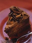 A piece of chocolate gateau