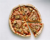 Sliced Ham and Mushroom Pizza From Overhead