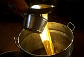 Olive oil production : the pure oil is poured into tubs