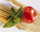 Dry Pasta Tomato and Basil; Soft Focus