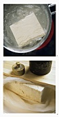 Pressing tofu (cooking in salt water & pressing with weight)