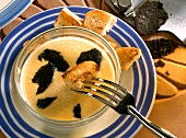 Fonduta with truffles (dipping bread in cheese & truffle sauce)