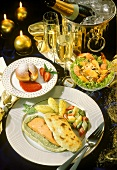 New Year's Eve menu: shrimp salad, salmon, fritters, champagne