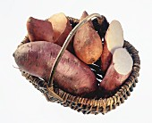 Sweet potatoes in basket with handle