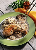 Chicken thighs in sherry and mushroom sauce
