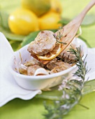 Veal escalope with lemon and rosemary