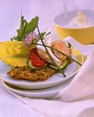 Potato waffles with turkey breast fillets & salad garnish