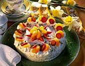 Cheesecake with mandarins & strawberries