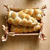 Bread plaits in decorative bread basket