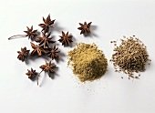 Anise stars, seeds and powder