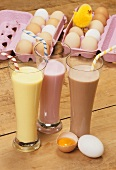 Vanilla, strawberry and chocolate milkshakes