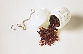Fruit tea in porcelain tea infuser