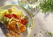 Chicken breast with vegetable stuffing & salad garnish