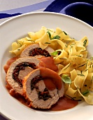 Roast turkey roll stuffed with tomato & basil & ribbon noodles