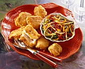Fish nuggets and peppers