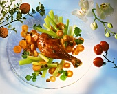 Chicken leg with carrots and celery and raisins