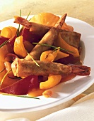 Shrimps in batter with peppers and sweet and sour sauce