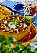 Mexican chicken stew with sheep's cheese & chili peppers