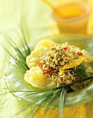 Luke-warm salad of Puy lentil sprouts & potatoes