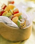Tofu and vegetable kebabs