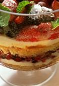 Beeren-Trifle (Schichtspeise) in einer Glasform
