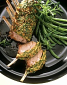 Lamb chop with herb crust and green beans
