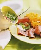 Sliced Roast Beef with Radish Salad