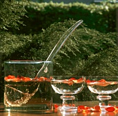 Rose-Sekt punch in glasses & glass bowl on table outdoors