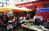 Vegetable stall beside a bar on Marche des Lys, Rennes