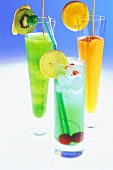 Three colourful fruit cocktails