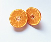 Two mandarin orange halves
