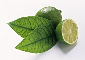 Whole and half lime, two leaves