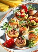 Stuffed mushrooms, salmon rolls & stuffed cherry tomatoes