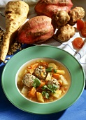 Root vegetable stew with lamb dumplings